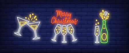 Merry Christmas neon lettering and champagne glasses set. Christmas, New Year Day, celebration design. Night bright neon sign, colorful billboard, light banner. Vector illustration in neon style. Ilustração