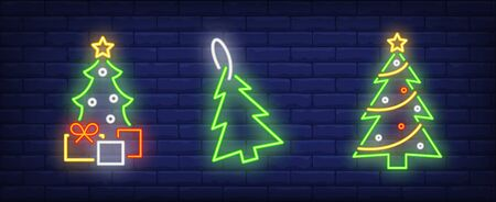 Fir-trees and gift boxes neon signs set. Christmas, New Year Day, celebration design. Night bright neon sign, colorful billboard, light banner. Vector illustration in neon style.