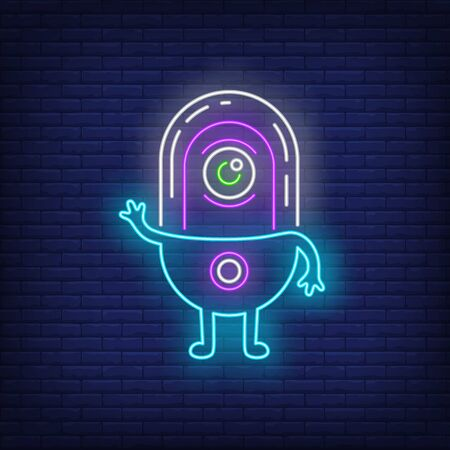 One-eyed alien waving hand neon sign. Invasion, fantasy, extraterrestrial intelligence design. Night bright neon sign, colorful billboard, light banner. Vector illustration in neon style.