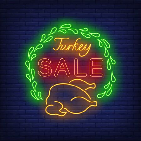 Turkey sale neon sign. Glowing neon text. Turkey, discounts, Thanksgiving day. Night bright advertisement. Vector illustration in neon style for cafe, restaurant, shop