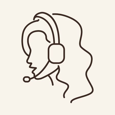 Support woman line icon. Side view, headset, microphone, woman. Helpdesk concept. Can be used for topics like telemarketing, customer service consultant, contact service