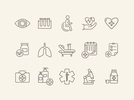 Medication icons. Set of line icons. Medical cross, drug, first aid kit. Inpatient examination concept. Vector illustration can be used for topics like medicine, healthcare, hospital
