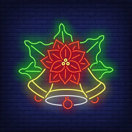 Poinsettia flower with bells neon sign. Christmas and New Year Day decor design. Night bright neon sign, colorful billboard, light banner. Vector illustration in neon style.