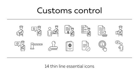 Customs control icons. Set of line icons. Faqs, passport, customs check, customs inspection. Immigration concept. Vector illustration can be used for topics like security, travel, airport