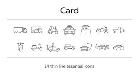 Car driving line icon set. Camper, bike, electric car. Transport concept. Can be used for topics like vehicle, travel, trip Banque d'images - 129799469