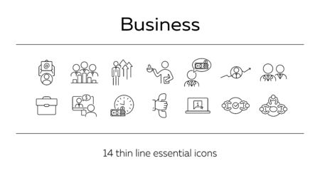 Business line icon set. Meeting, negotiation, briefcase. Dealing concept. Can be used for topics like agreement, collaboration, partnership Illusztráció