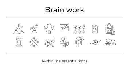 Brainstorming icon set. Line icons collection on white background. Decision, logic, strategy. Business concept. Can be used for topics like gamification, start-up, promotion  イラスト・ベクター素材