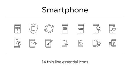 Smartphone icons. Set of line icons. Drawing app, wifi, mobile repair, mobile help. Mobile phones concept. Vector illustration can be used for topics like applications, technology, connection