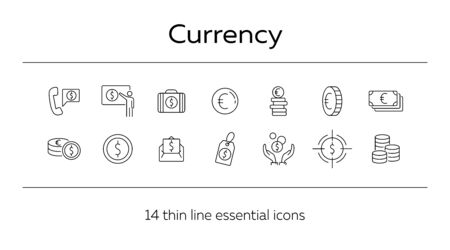 Currency line icon set. Money, banking, savings. Wealth concept. Can be used for topics like atm, global trade, economy