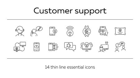 Customer support line icon set. Operator, technical help, computer, smartphone. Digital gadgets concept. Can be used for topics like online consulting, call center, service