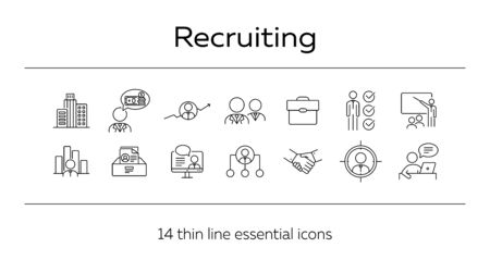 Recruiting line icon set. Office, candidate, salary, video interview. Human resource concept. Can be used for topics like career, job, HR, employment Çizim