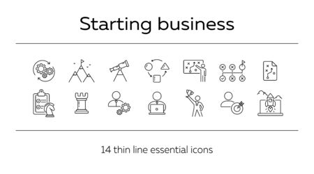 Start-up project icon set. Line icons collection on white background. Achievement, goal, task. Logic concept. Can be used for topics like strategy, game, gamification