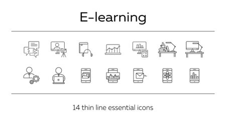 E-learning line icon set. Smartphone, computer, workstation. tutorial concept. Can be used for topics like web design, technology, education