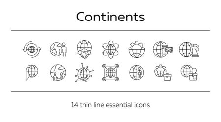Continents line icon set. Globe, world, person, briefcase, handshake. Foreign affairs concept. Can be used for topics like global business, transaction, networking Фото со стока - 129801032