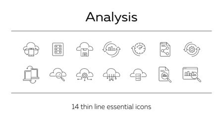 Analysis line icon set. Research, diagram, cloud. Business concept. Can be used for topics like server, process, management Ilustrace