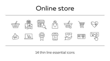 Online shop icon set. Store, selling, basket. Sale concept. Can be used for topics like shopping, e-commerce, retail Ilustrace