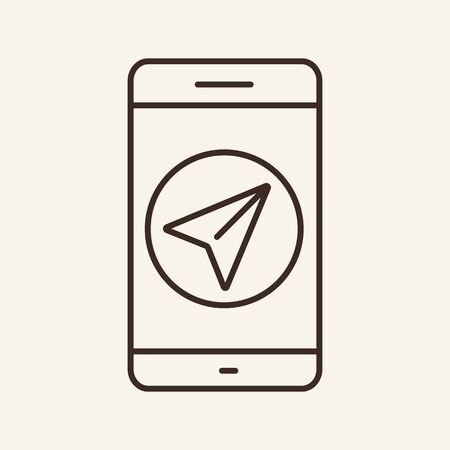 Navigator line icon. Mobile application, smartphone, paper plane. Messenger concept. Can be used for topics like travelling, communication, technology