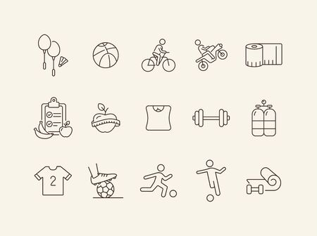 Sports training line icon set. Slimming, soccer, cycling. Exercising concept. Can be used for topics like healthy lifestyle, activity, game 일러스트