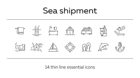 Sea tour line icon set. Cruise liner, towel, bath, dolphin. Summer vacation concept. Can be used for topics like travel, trip, activities Иллюстрация