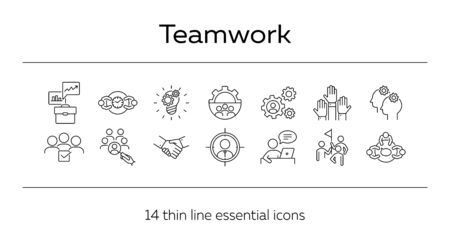 Teamwork line icon set. Team, staff, meeting, discussion, success. Business concept. Can be used for topics like partnership, unity, project management Çizim