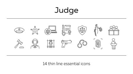 Judge line icon set. Sheriff badge, judge gavel, suspect, gun. Justice concept. Can be used for topics like crime, trial, courthouse  イラスト・ベクター素材
