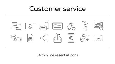 Customer service icons. Set of line icons. Social media, smartwatch, flash driver. Internet connection concept. Vector illustration can be used for topics like communication, technology, connection