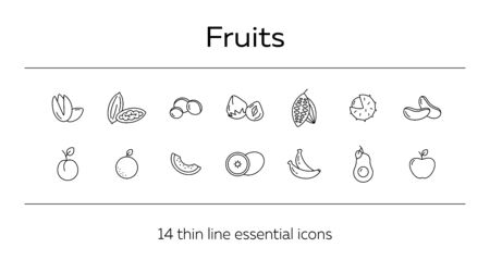 Fruits icons. Set of line icons on white background. Peach, apple, banana. Food concept. Vector illustration can be used for topics like vitamin, healthy eating, dieting