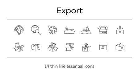 Export line icon set. Worlwide export and packaging concept.Vector illustration can be used for topics like marine, transportation, export