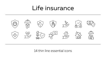 Life insurance line icon set. Shield, home, property. Protection concept. Can be used for topics like accident, security, service Stock Vector - 129861909