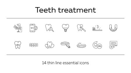 Teeth treatment line icon set. Dentist tools, injection, braces. Dental care concept. Can be used for topics like denture, dentistry, stomatology Ilustrace