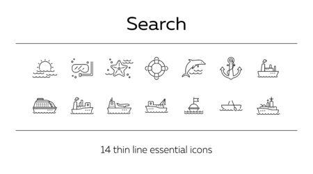 Sea shipment line icon set.Sea transportation concept. Vector illustration can be used for topics like marine, transport, travel