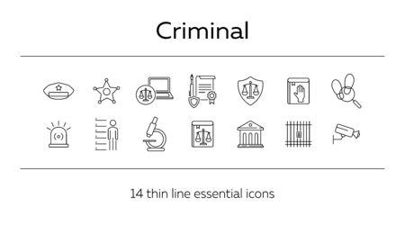 Criminal line icon set. Arrest warrant, sheriff badge, criminal code. Justice concept. Can be used for topics like investigation, court, crime 일러스트