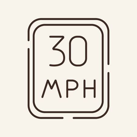 Speed limit warning line icon. Rule, law, restriction. Traffic concept. Can be used for topics like driving, road sign, regulation