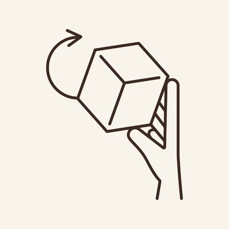3D object line icon. Cube, hand, game. Technology concept. Can be used for topics like innovation, toy, prototype Illustration