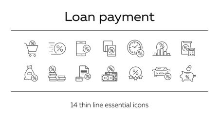 Loan payment icon set. Line icons collection on white background. Money, credit, percent. Investment concept. Can be used for topics like management, banking, loan Ilustrace