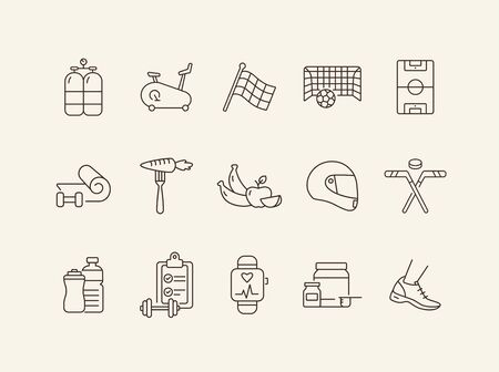 Sport and healthcare line icon set. Healthy eating, exercising, game. Slimming concept. Can be used for topics like weightloss, sport, sports equipment 일러스트