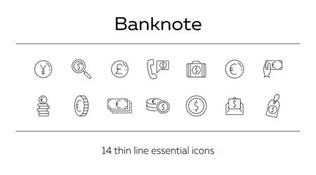 Banknote icon set. Money, currency, banking. Finances concept. Can be used for topics like trade, investment, prosperity