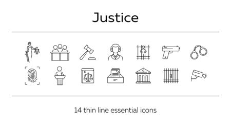 Justice line icon set. Video surveillance, fingerprint, courthouse. Justice concept. Can be used for topics like crime, trial, court, investigation  イラスト・ベクター素材