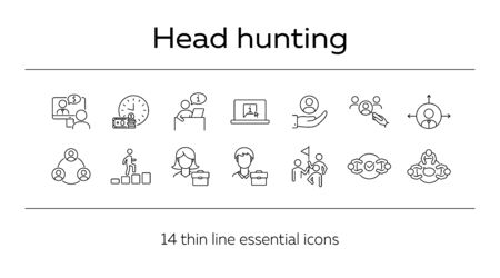 Head hunting line icon set. Interview, candidate, career promotion. Business concept. Can be used for topics like recruitment, human resource, employment, hiring