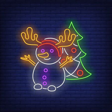 Snowman wearing antlers and decorated fir-tree neon sign. Winter season, Christmas design. Night bright neon sign, colorful billboard, light banner. Vector illustration in neon style.