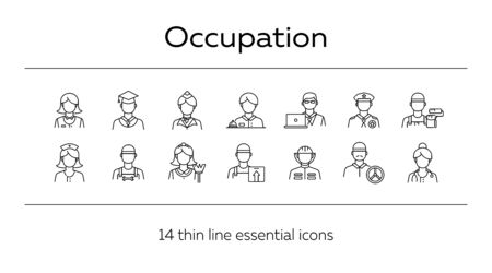 Occupation icons. Set of line icons on white background. Painter, officer, nurse. Profession concept. Vector illustration can be used for topics like career, skill, service Иллюстрация