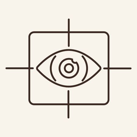 Virtual reality eye line icon. Scanning, aim, software. Identification concept. Can be used for topics like innovation, technology, security