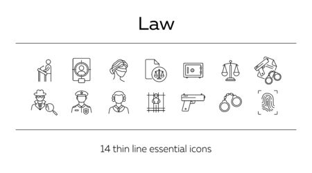 Law line icon set. Police officer, detective, judge, courthouse. Justice concept. Can be used for topics like investigation, crime, punishment Ilustracja