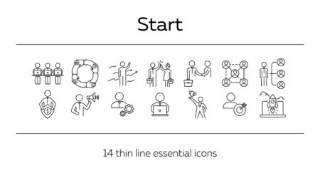 Starting business icons. Set of line icons on white background. Startup, way to money, strategy. Management concept. Vector illustration can be used for topics like business, corporate, success