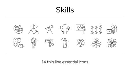 Skills icon set. Line icons collection on white background. Puzzle, strategy, idea. Innovation concept. Can be used for topics like education, achievement, development Çizim