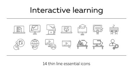 Interactive learning line icon set. Course, college, degree. Online lesson concept. Can be used for topics like e-learning, seminar, education