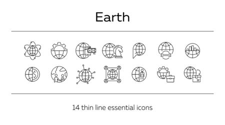 Earth line icon set. Globe, planet, world, affairs. Foreign relations concept. Can be used for topics like worldwide business, multinational company, networking