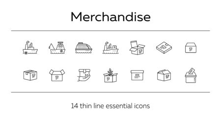 Merchandise line icon set. Delivery and packaging concept.Vector illustration can be used for topics like post office, courier, logistics  イラスト・ベクター素材