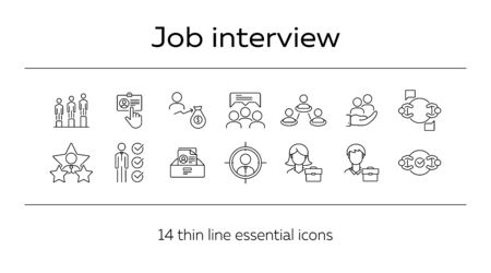 Job interview line icon set. Candidate rate, selection, team. Human resource concept. Can be used for topics like career, recruitment, selection