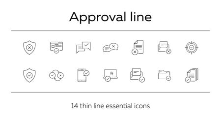 Approval line icons. Set of line icons. Letter with checkmark, approved documents. Checkmark concept. Vector illustration can be used for topics like work, business Ilustrace